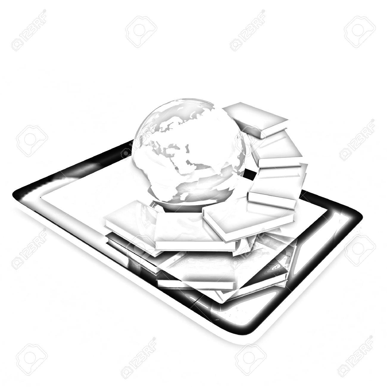 1300x1300 Tablet Pc And Earth With Real Books. Pencil Drawing Stock Photo