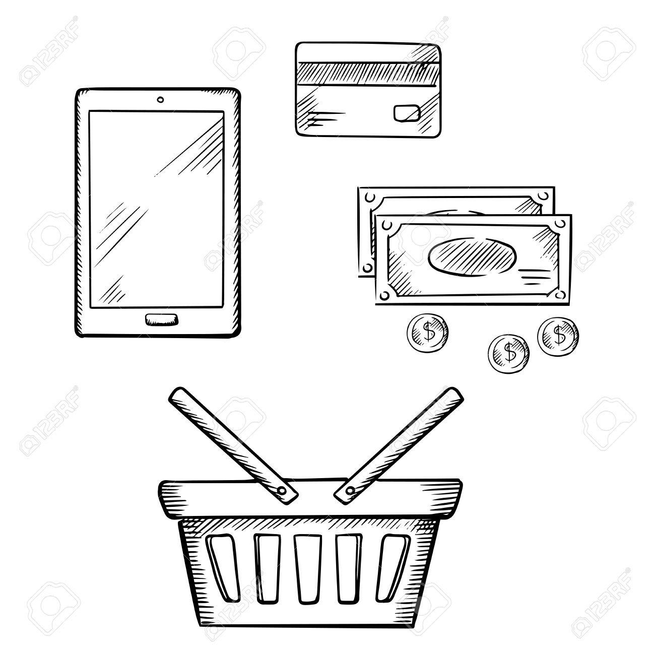 1300x1300 Tablet Pc With Shopping Basket, Credit Card, Dollar Bills