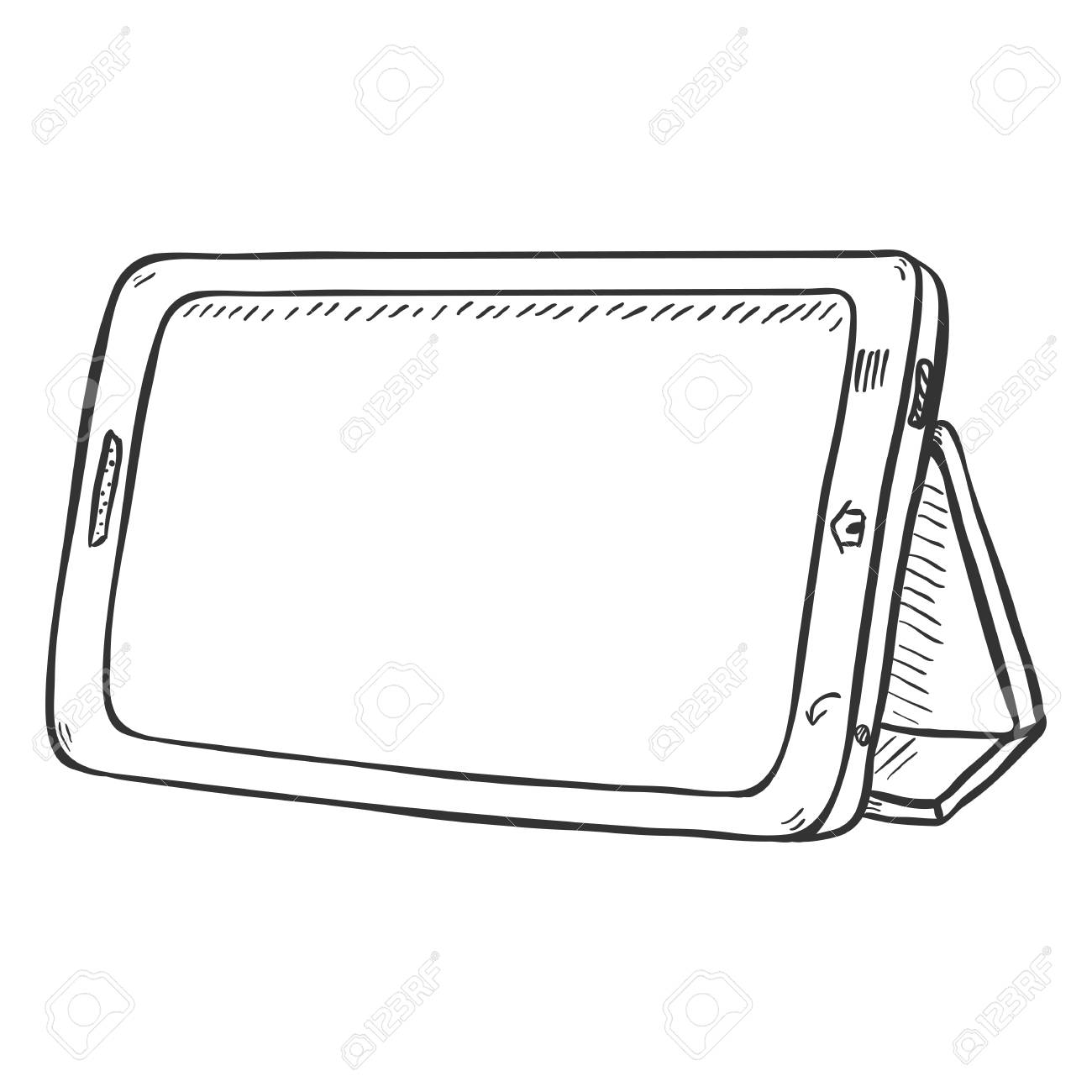 1300x1300 Vector Single Sketch Tablet Pc On White Background Royalty Free