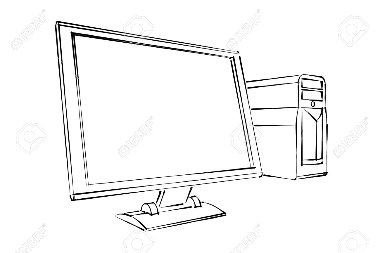 1300x866 Desktop Computer Abstract Sketch Stock Photo, Picture And Royalty