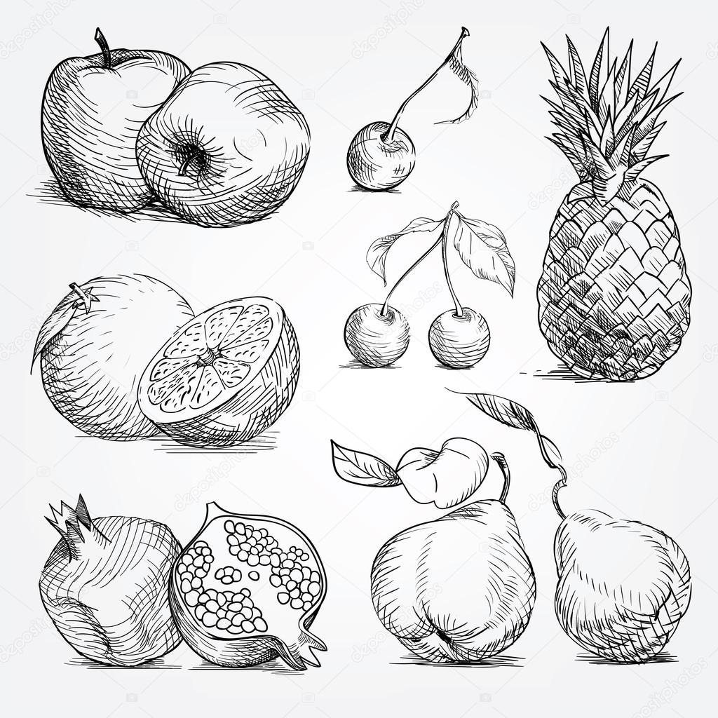 1024x1024 Hand Drawing Set Of Fruits, Pineapple, Orange, Apple, Cherry, Pe