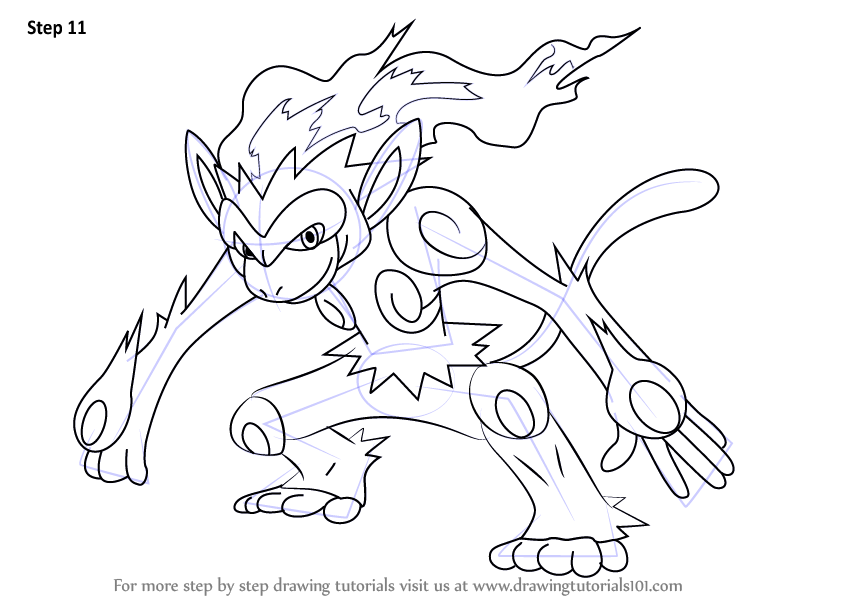 844x598 Learn How To Draw Infernape From Pokemon (Pokemon) Step By Step