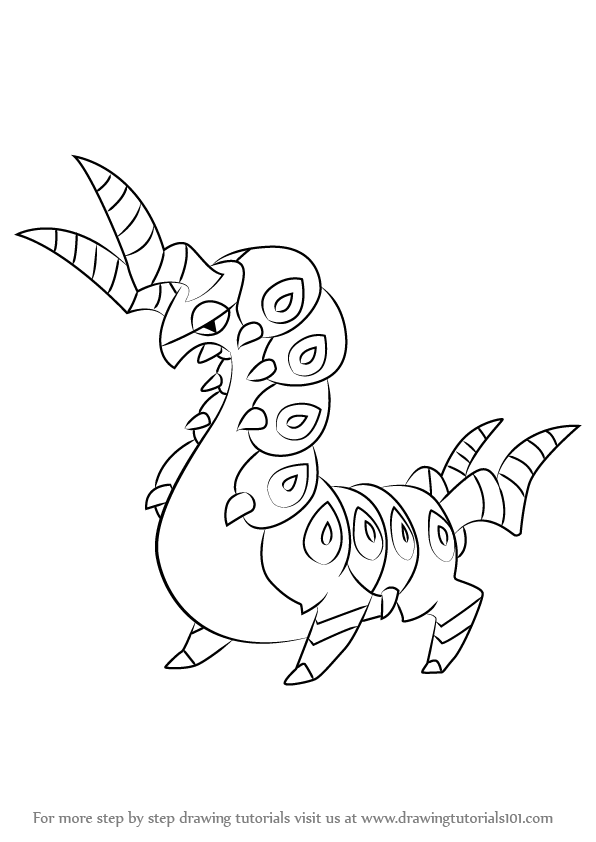 596x842 Learn How To Draw Scolipede From Pokemon (Pokemon) Step By Step
