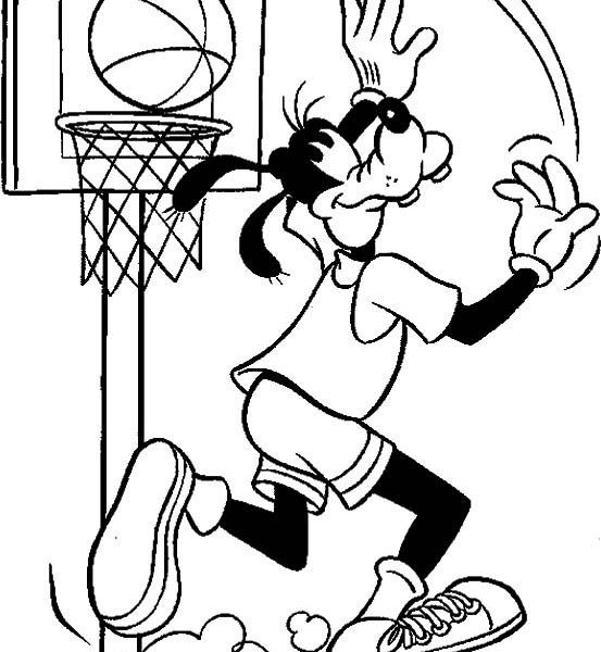 553x600 Pe Coloring Pages Basketball Coloring Pages Goofy Palying