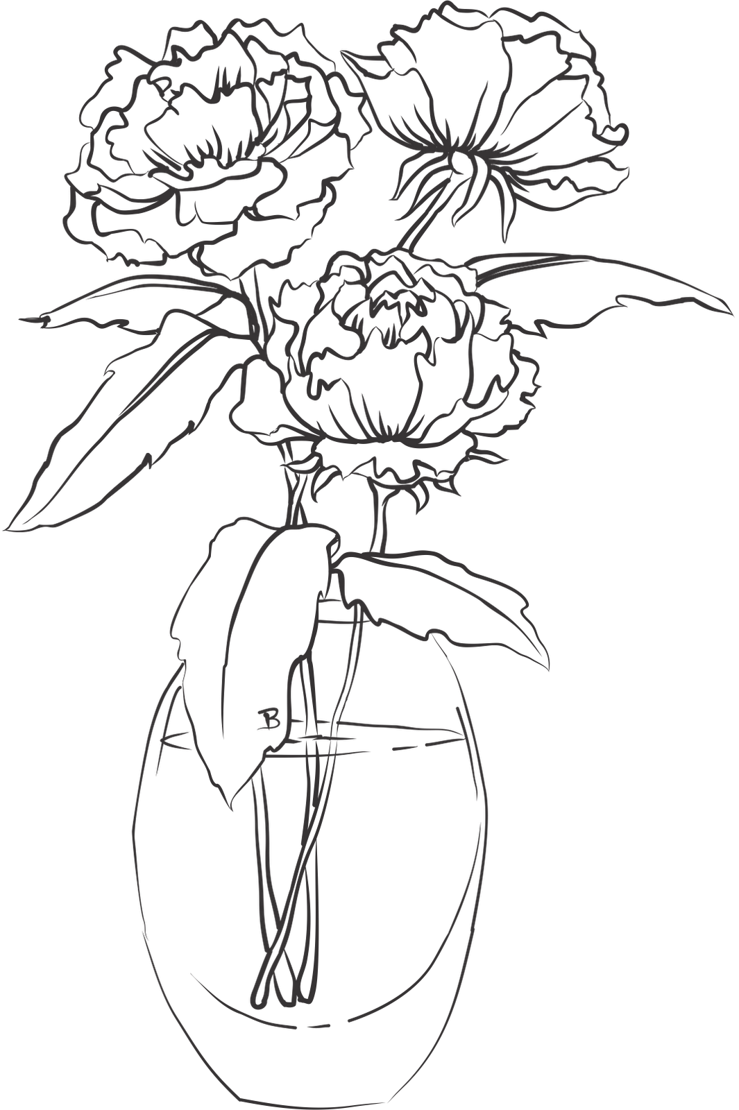 1065x1600 Photo Album How To Draw A Rose In A Vase Step By Step Download