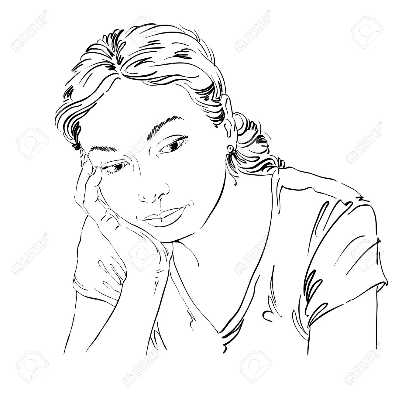 1300x1300 Vector Art Drawing, Portrait Of Sad And Depressed Girl, Thinking