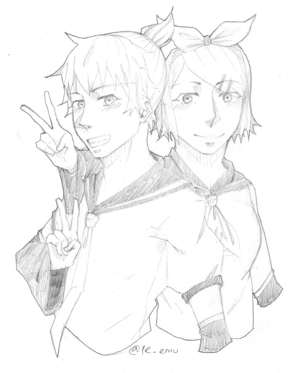 1024x1290 Fanart Kagamine Len And Kagamine Rin By Pe Emu
