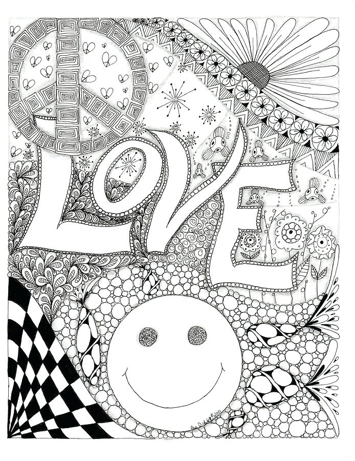 694x900 Fine Art Coloring Pages Peace Love And Happiness Drawing Peace