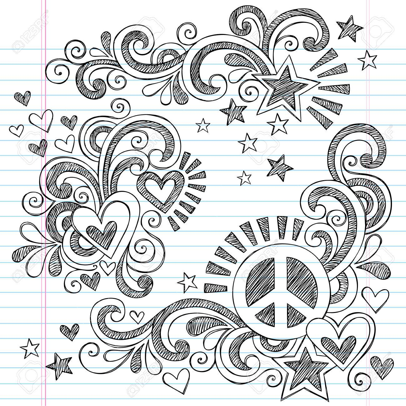 1300x1300 Peace And Love Back To School Sketchy Notebook Doodles With Peace