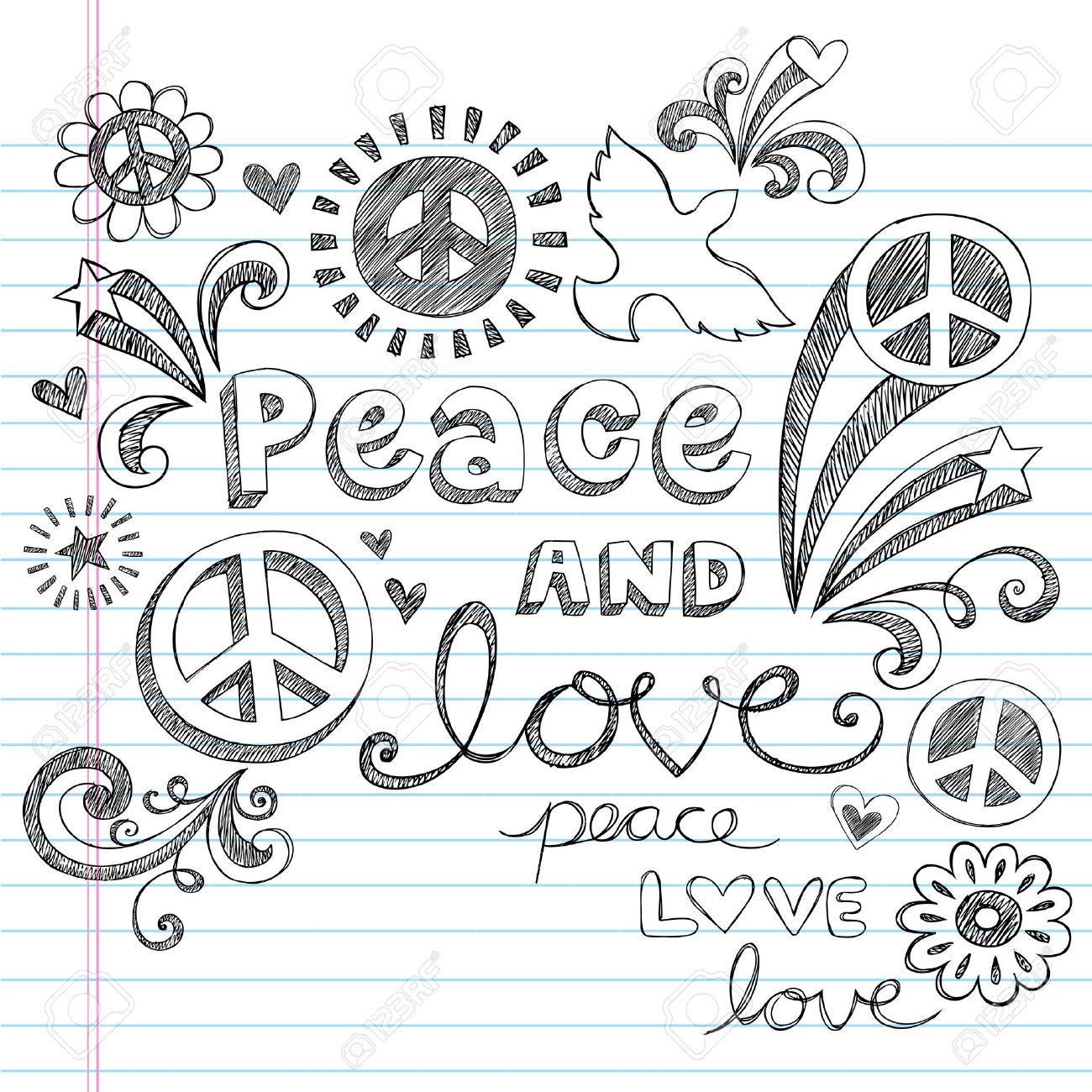1300x1300 Peace Amp Love Sketchy Notebook Doodles Design Elements On Lined