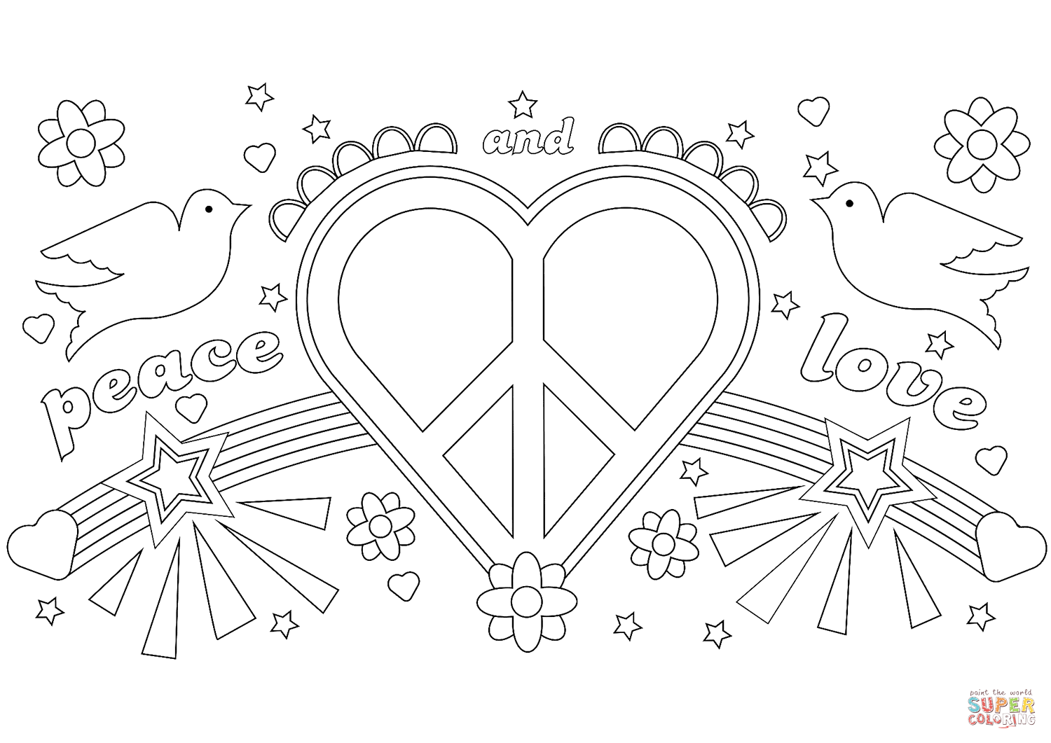 1500x1061 Peace And Love Coloring Page Free Printable Coloring Pages
