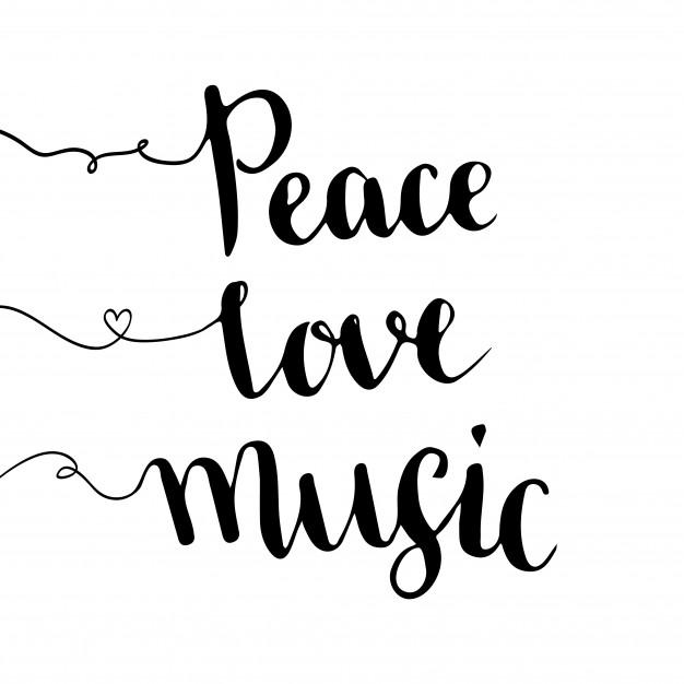 626x626 Peace Love Music. Handwritten Lettering. Hand Drawn Vector Design