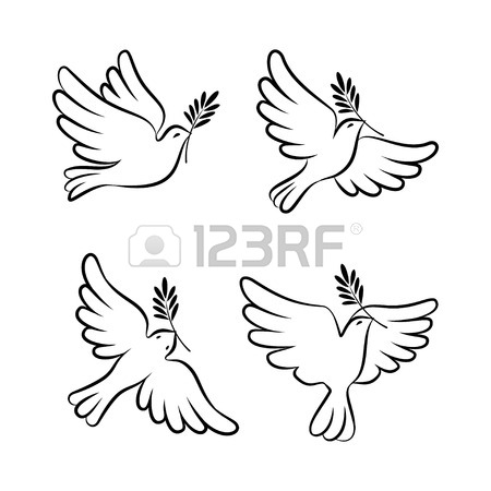 450x450 Flying Dove Vector Sketch Set. Dove Peace. Silhouette
