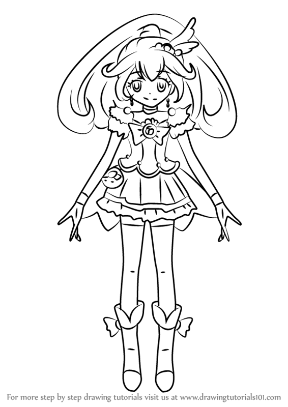 566x800 Learn How To Draw Cure Peace From Pretty Cure (Pretty Cure) Step