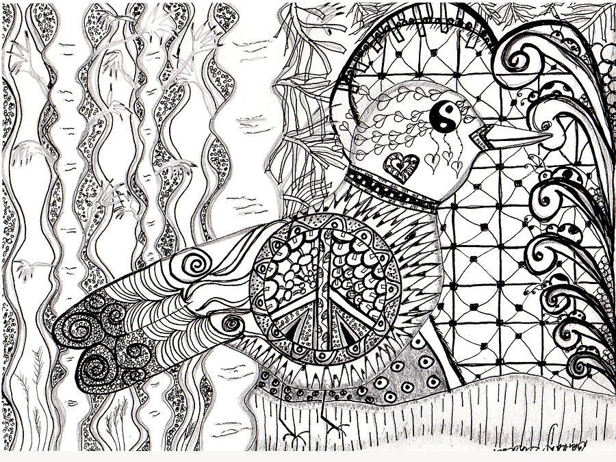 900x675 Peace Dove Drawing By Barbara Giordano