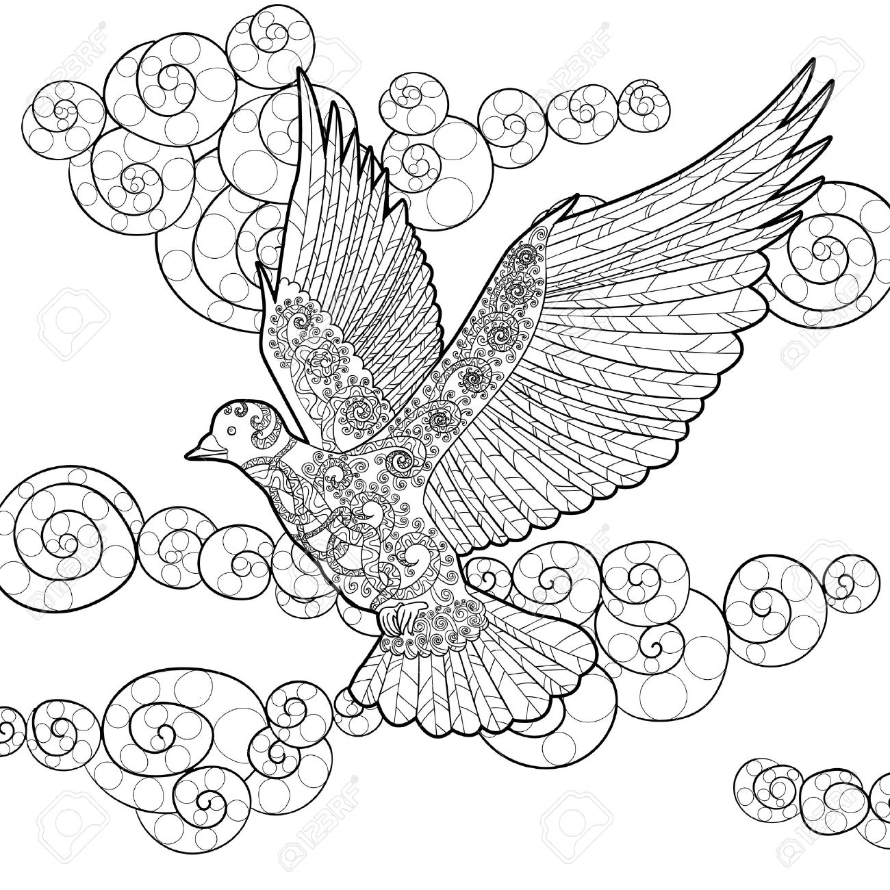 1300x1300 Flying Dove In The Sky. Adult Antistress Coloring Page. Black