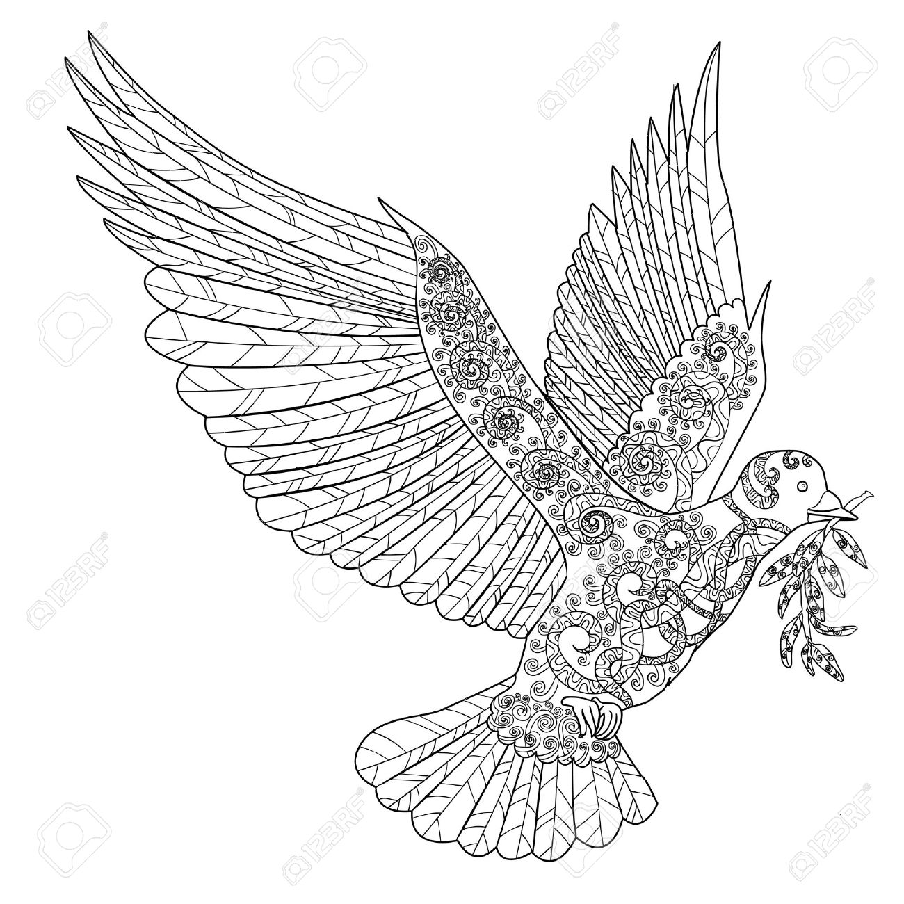 1300x1300 Flying Dove With Olive Branch. Adult Antistress Coloring Page