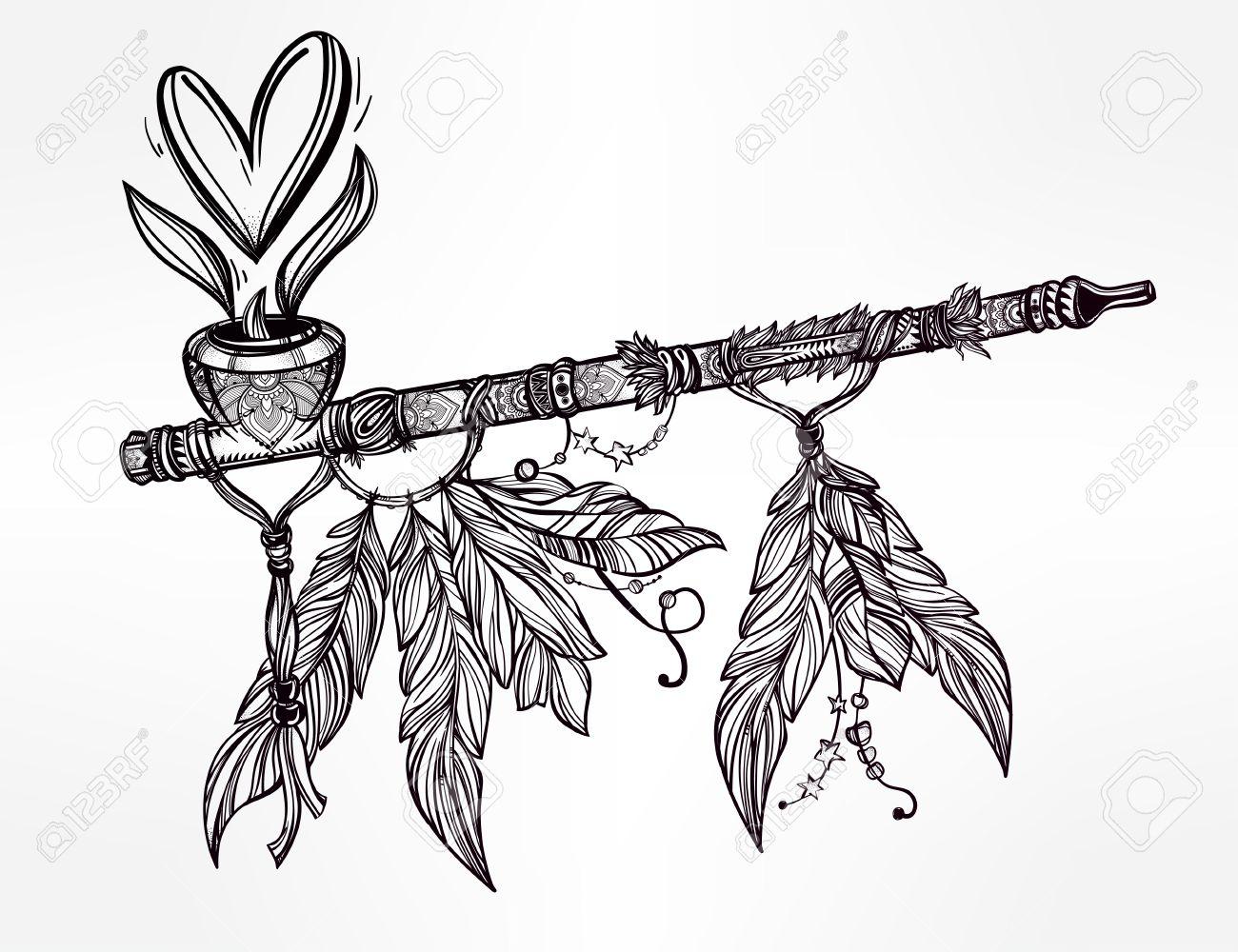 1300x1000 Hand Drawn Beautiful Artwork Of Traditional Indian Smoking Pipe