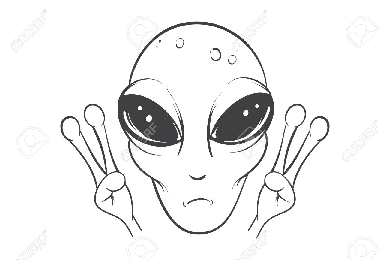 1300x866 Alien Is Showing A Sign Of Peace.hand Drawn Vector Illustration