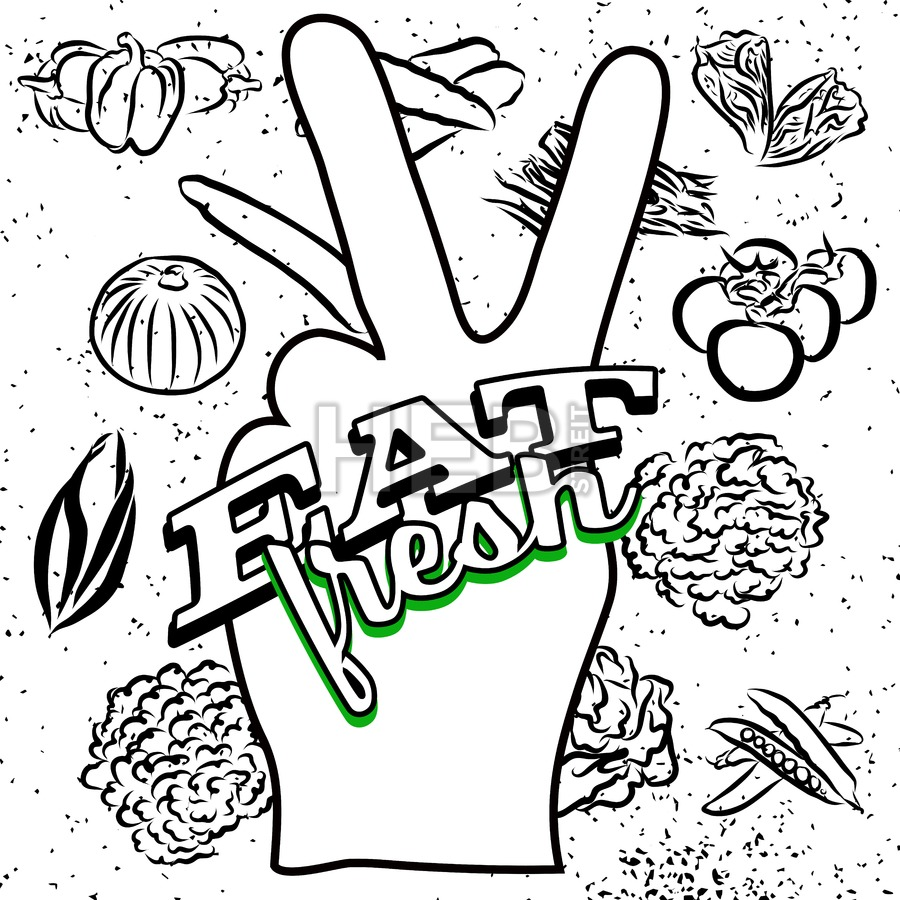 900x900 Eat Fresh Lettering On Peace Hand Sign Hebstreits