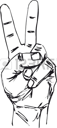201x450 Illustration Of A Victory V Salute Or Peace Hand Sign In A Retro