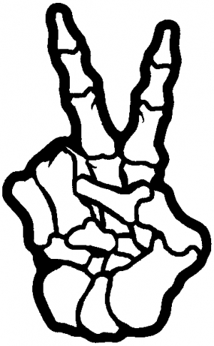 300x485 Skeleton Hand Peace Sign Car Or Truck Window Decal Sticker
