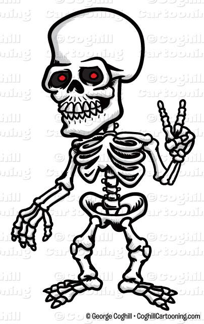 404x640 Cartoon Skeleton Peace Sign Clip Art Stock Illustration