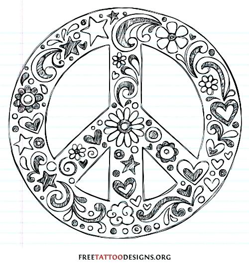 500x540 Flash Sign Coloring Plus Peace Sign Tattoo Drawing 899