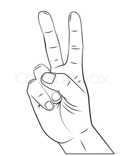 261x320 Vector Cartoon Hand Victory Sign. Peace Hand Symbol. Stock