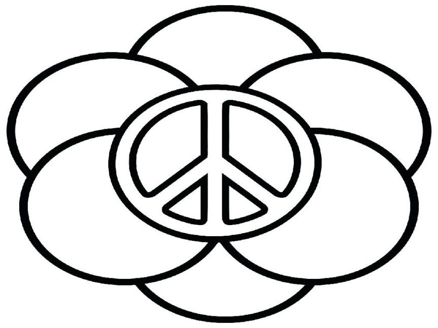 863x647 Color Peace Coloring Pages Sign Sheets Free Pictures Signs Peace