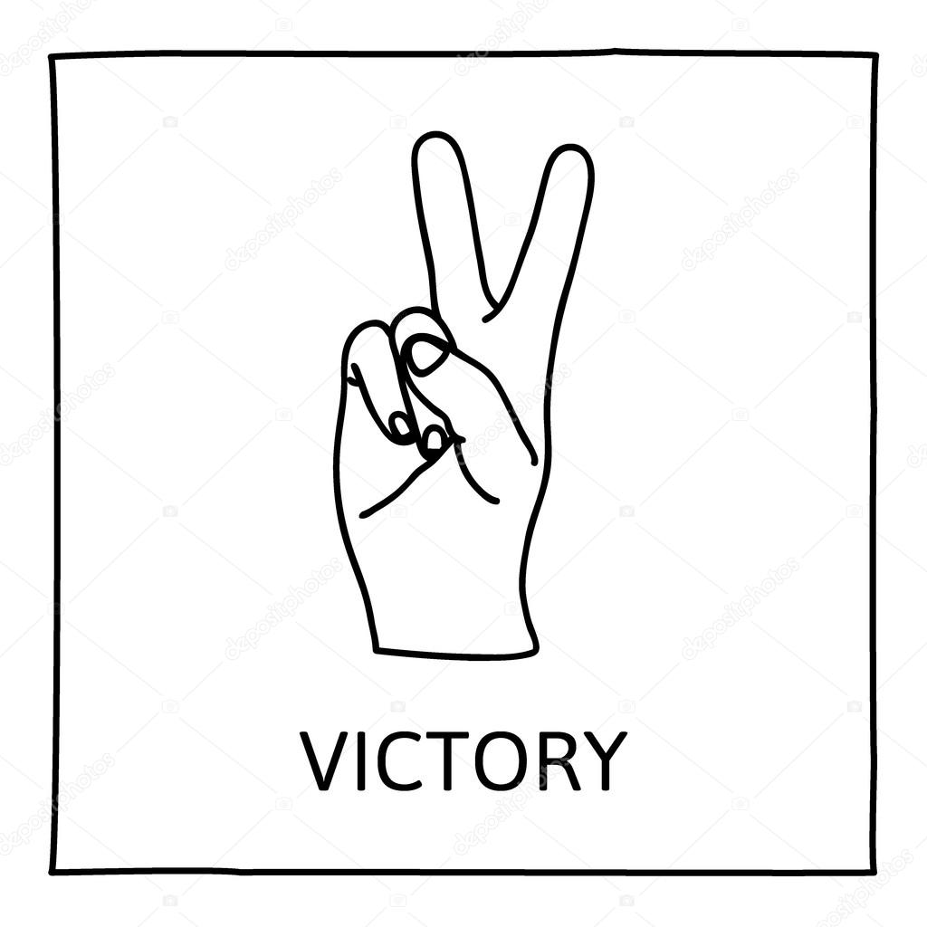 1024x1024 Doodle Peace And Victory Icon Stock Vector Paketesama