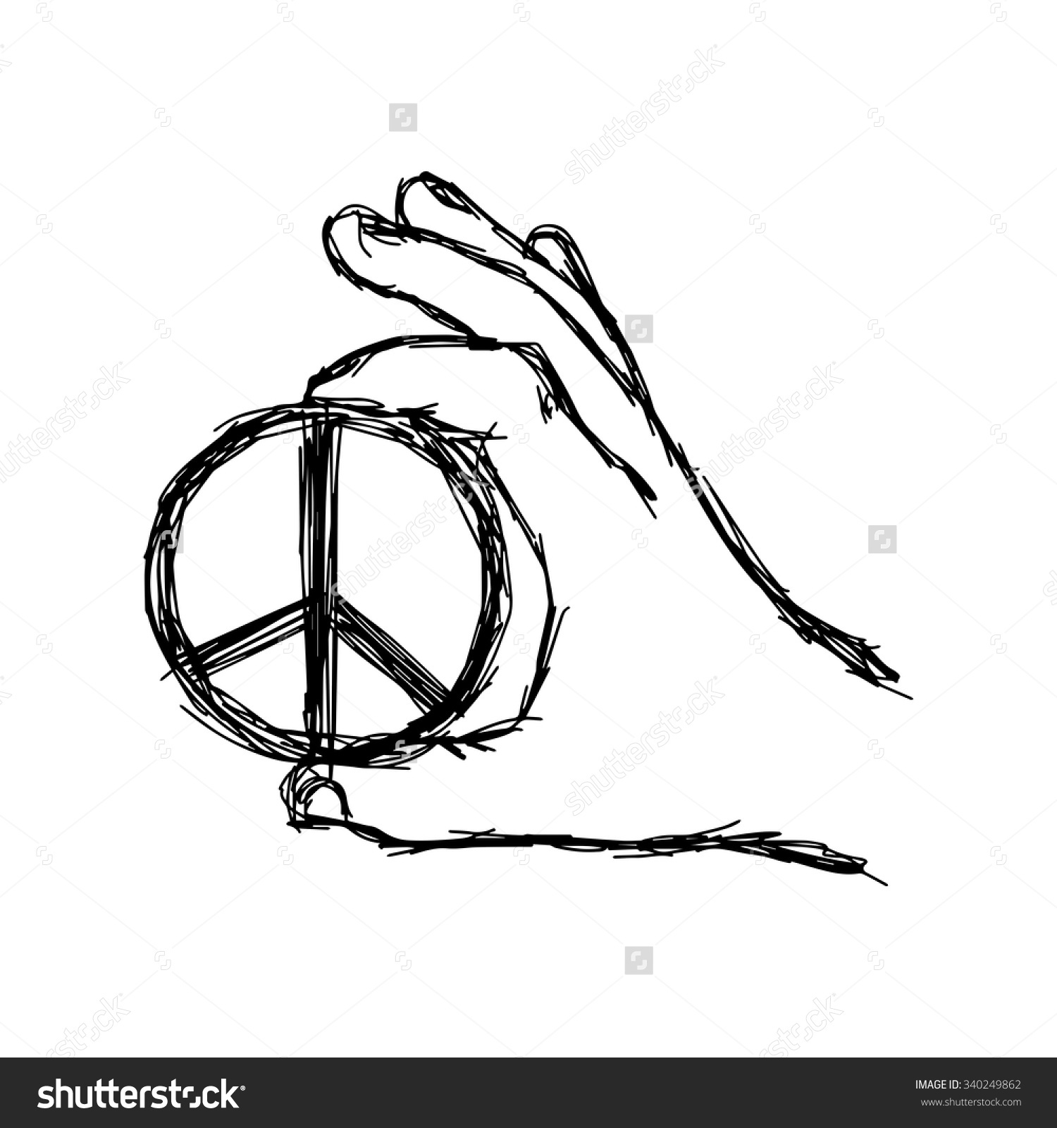 1500x1600 Peace Sign Hand Drawing Illustration Vector Doodle Hand Drawn