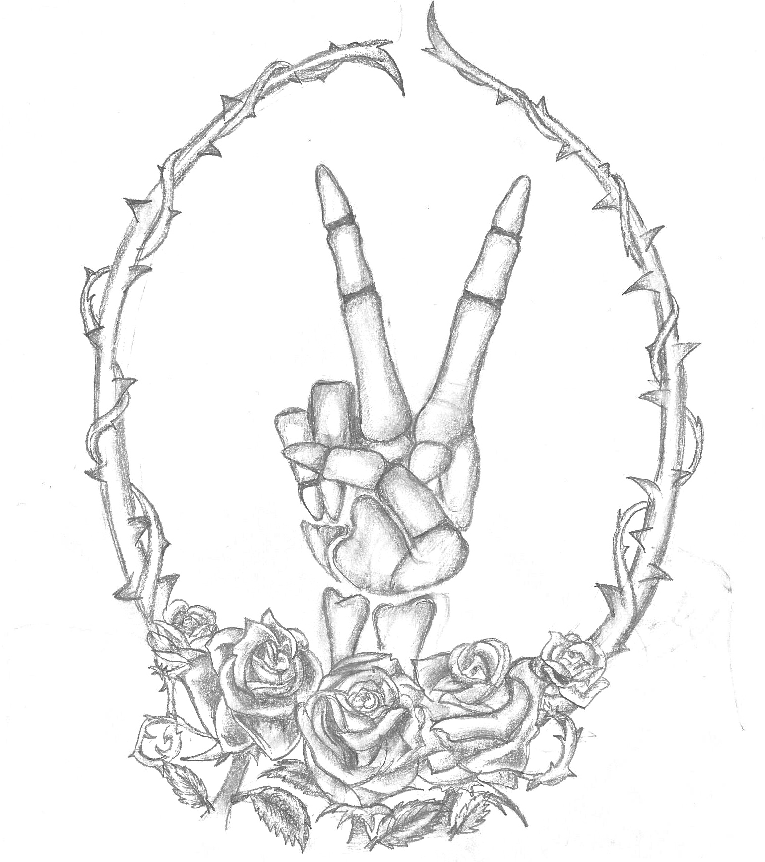 1547x1742 Custom Skeleton Peace Sign Tattoo Design Young Wild And Inked