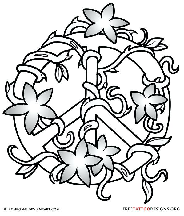 598x700 Flash Sign Coloring As Well As Peace Symbol Tattoo Design 831