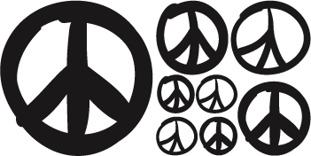 351x176 Peace Sign Wall Decals