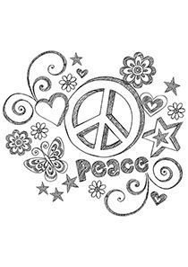 210x297 Peace Signs Coloring Page Free Download