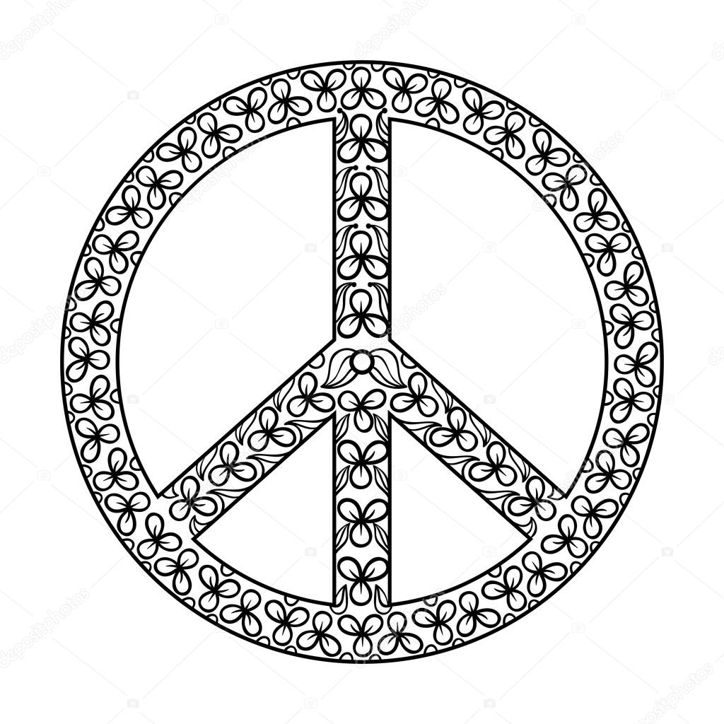 1024x1024 Zentangle Black Peace Symbol , Tattoo Design In Hippie Doodle St