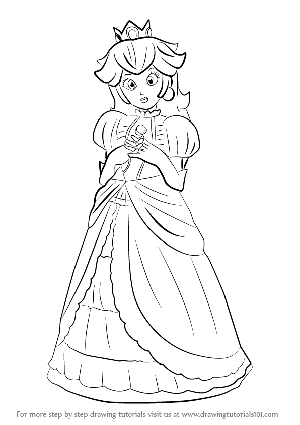 596x843 Learn How To Draw Peach From Super Smash Bros (Super Smash Bros