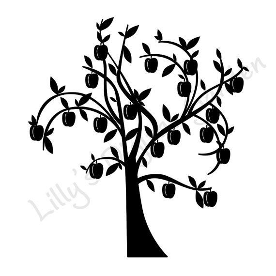 570x570 Peach Tree Stamp Digital Stamp Trees Tree By Lillysdigitalgarden