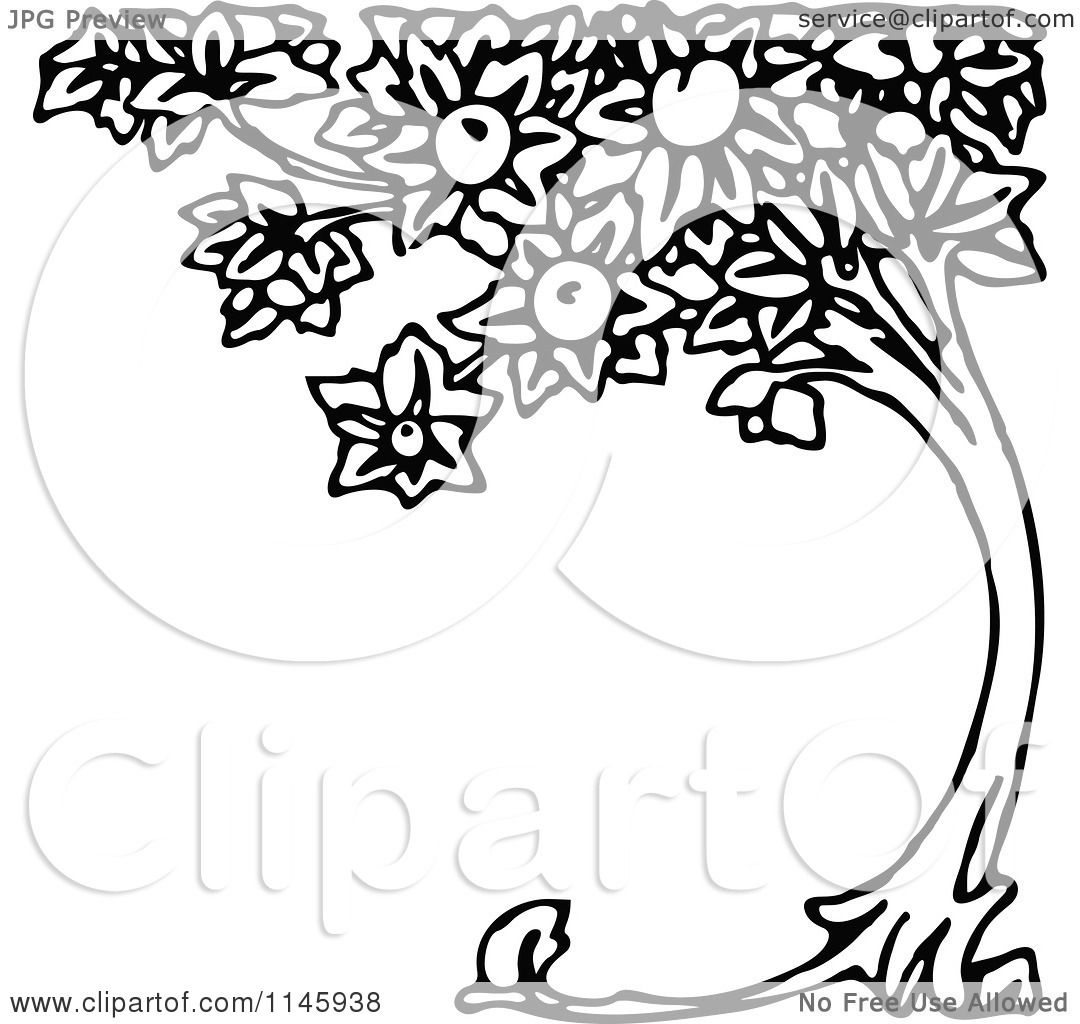 1080x1024 Clipart Of A Retro Vintage Black And White Curved Peach Tree
