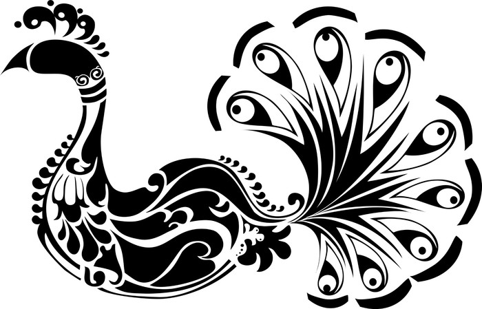 700x449 Decorative Peacock Black And White Wall Mural We Live