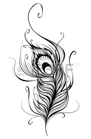 295x450 Artistically Drawn, Stylized, Vector Peacock Feather On A White