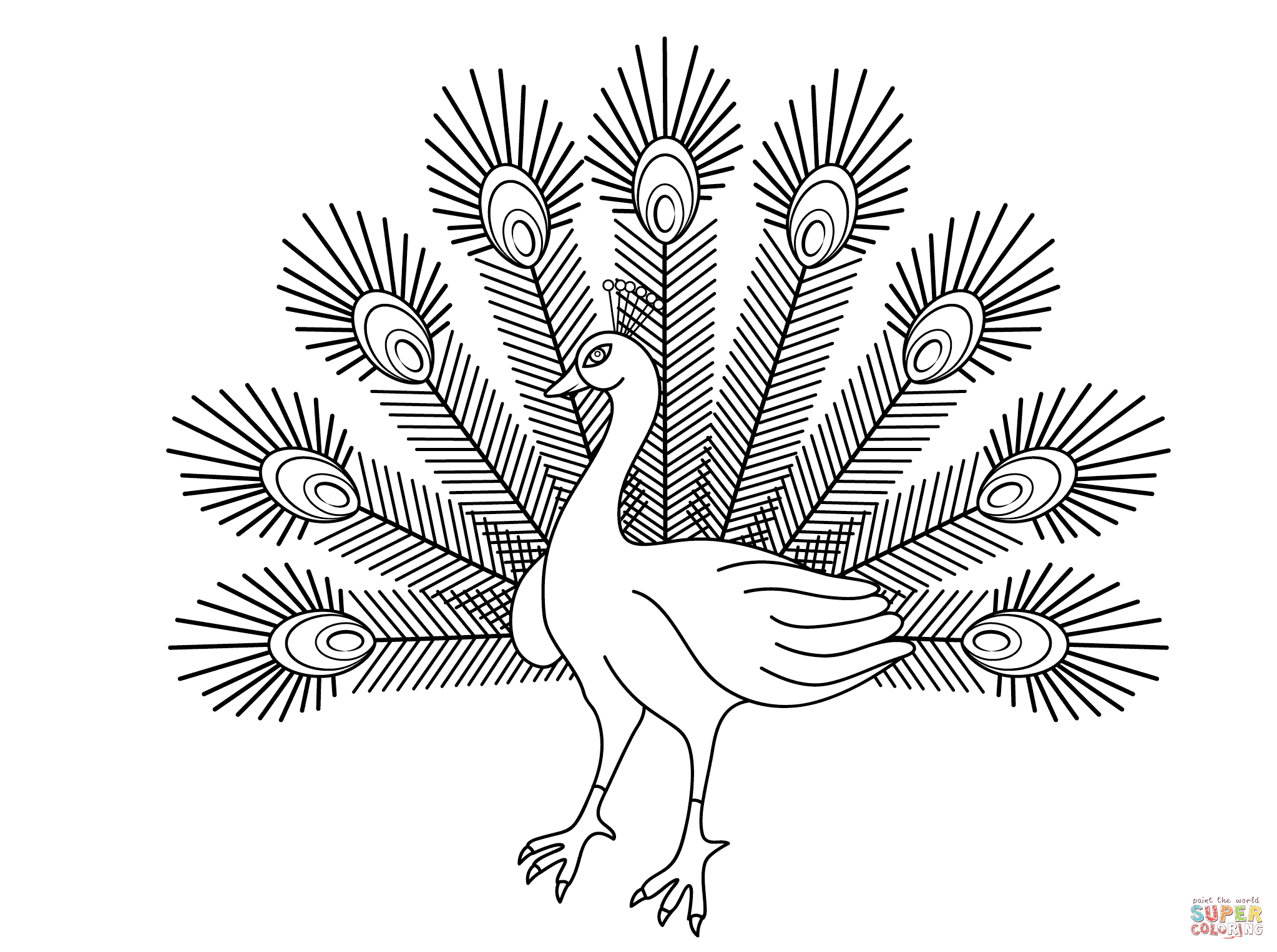 2046x1526 Cartoon Peacock Coloring Page Free Printable Coloring Pages