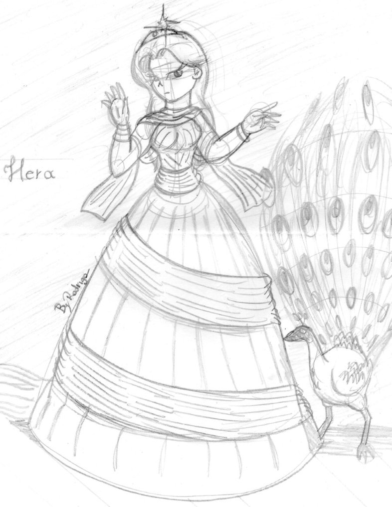 786x1017 Hera With Her Peacock By Rodrhabbo