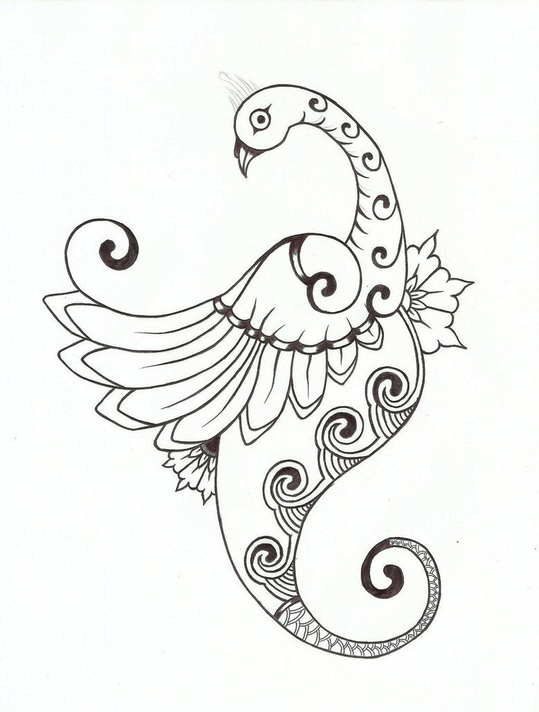 778x1026 Black And White Peacock Designs