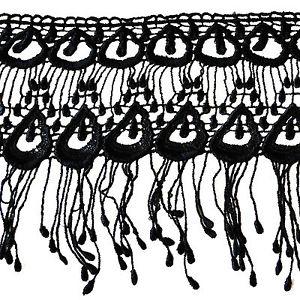 300x300 Kiddo 6.5 White Black Peacock Feather Pattern Venice Lace Fringe