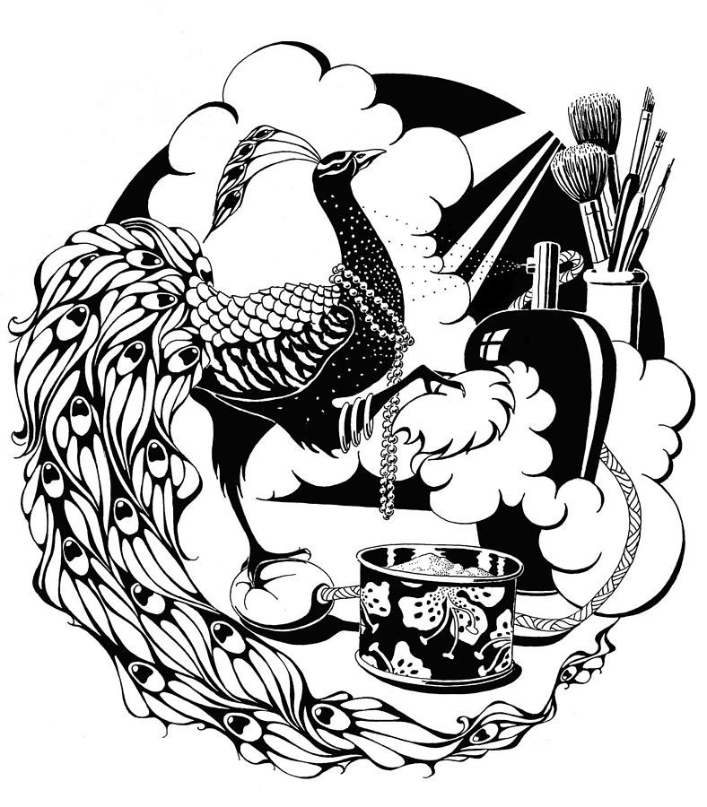 788x900 White Peacock Drawings Fine Art America