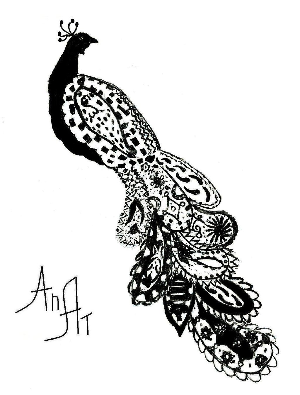 1024x1347 Abstract Peacock Drawing