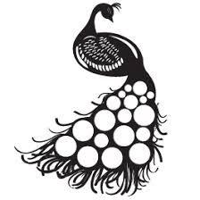 224x224 Amazing Simple Peacock Design Tattoo Stencil