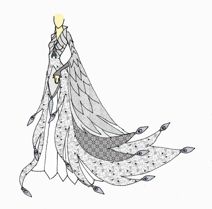 900x889 White Peacock Gown By Elvenbutterfly